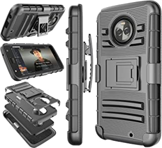 Moto X4 Case, 2017 Motorola Moto X 4th Generation Holster Clip, Tekcoo [Hoplite] Shock Absorbing [Black] Swivel Locking Belt Defender Heavy Full Body Kickstand Carrying Tank Armor Cases Cover