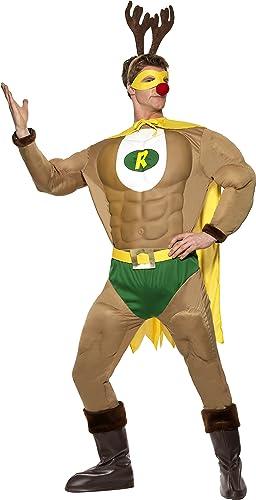 Smiffys Kostüm Superrentier Braun mit Oberteil Gürtel Hose Umhang Stiefelüberzügen, Large