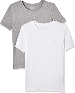 Calvin Klein Ss Tee Camiseta, Blanco (White/Grey Htr 926), 176 centimeters (Talla del fabricante: 14-16) (Pack de 2) para ...