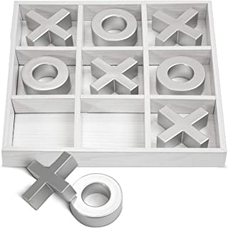 LAURA ASHLEY Elegant Wooden Tic Tac Toe Giant Board Game for Adults and Kids, Jumbo Solid Wood Coffee Table Décor and Games, Classic Oversized with White Finish and Silver Resin - 10 Piece Set