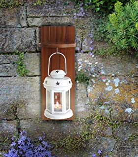 Tied Ribbons Outdoor Decor Hangings Lantern With Wooden Shelve