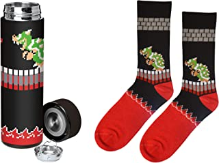 Retail Sales Solutions LLC Dungeon Super Mario Bros Classic King Koopa (Bowser) 2 Piece Socks and Stainless Steel Water Bottle Gift Bundle
