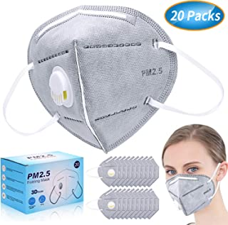 Anti Pollution Mask, N95 Particulate Respirator Dust Masks Disposable 20 Packs - Anti-Dust, Smoke, Gas, Allergies, Germs and Flu - Personal Protective Equipment for men and women