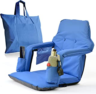 Foldable Reclining Bleachers Seat for Stadium – New & Improved 2019 Patent Pending Deluxe Model + Free Storage Bag– High Backrest + Thick Padded Back & Armrest+ Water Resistant (Blue, Standard)
