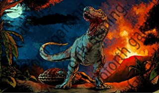 """T-rex Dinosaur Battle TCG CCG MTG playmat gamemat 24"""" Wide 14"""" Tall for Trading Card Game yugioh Smooth Cloth Surface Rubb..."""