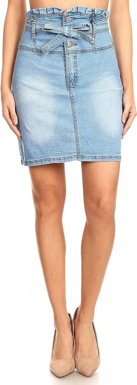 Fashion2Love Women's JuniorsHigh Waisted Stretch Belted Denim Skirt