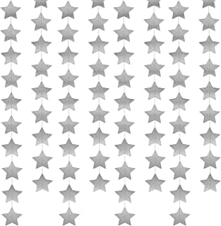 52 Feet Star Paper Garland Whaline Bunting Banner Hanging Decoration for Wedding Thanksgiving Party Birthday, 2.75 Inches (Silver)