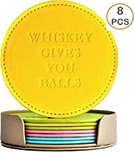 SPP Funny Drinks Coasters with Holder - Set of 8 Stylish Leather Coasters Macaron Colors Perfect Gift Ideas Home Decoration for Man & Women Prevent Furniture from Dirty & Scratched