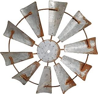 AHD Rustic Farmhouse Metal Windmill Wall Sculpture Decorative (15 Inch, Rusty Zinc)