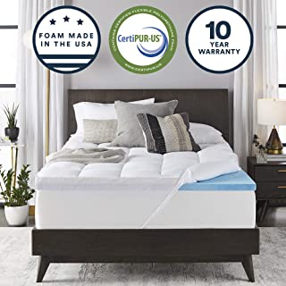Sleep Innovations Gel Memory Foam 4-inch Dual Layer Mattress Topper, Made in The USA with a 10-Year Warranty, Queen