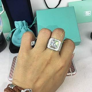 خاتم زفاف من تراي مارك للرجال، لون توباز أبيض وخاتم مملوء بالذهب مجوهرات مقاس 8-12 (12)
