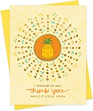 product image for Night Owl Paper Goods Fresh Pineapple Stamped Thank You Card, Gold Foil