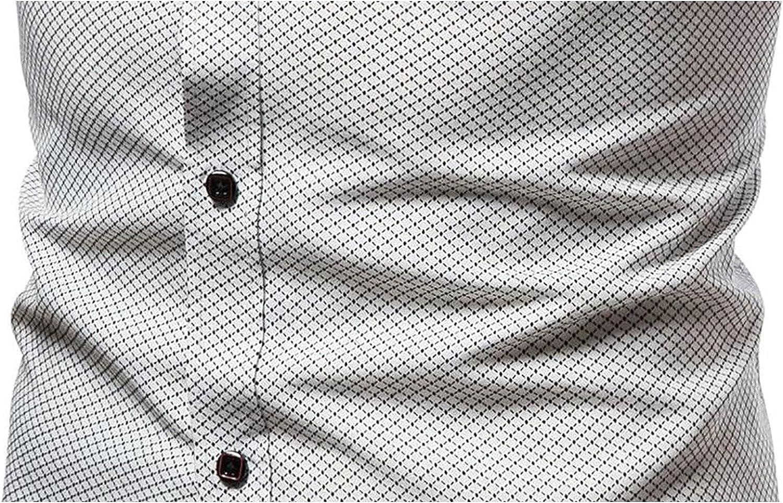 Men's Casual Linen Short Sleeve Dress Shirts Plaid Collar Button Down Shirt Slim Breathable Business Basic