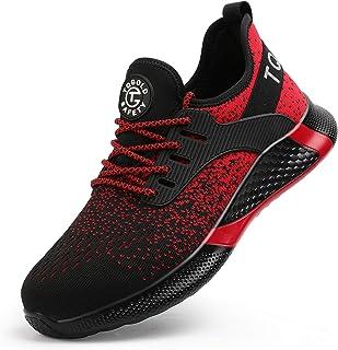 TQGOLD® Chaussures de Sécurité pour Hommes Chaussures à Lacets en Acier Chaussures de Travail Légères