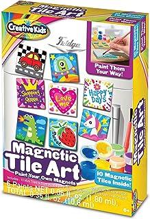 Creative Kids DIY Magnetic Mini Tile Art - Make Your Own Paint Art Craft Set for Kids - Includes 10 Mini Tiles w/Rubber Ma...