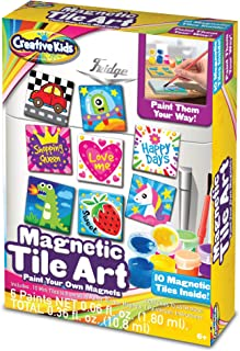 Creative Kids DIY Magnetic Mini Tile Art – Paint & Make Your Own Fridge Tile Art & Crafts Kits for Children | Party Favor Pack, Schools, Birthdays | for Boys & Girls Ages 3+