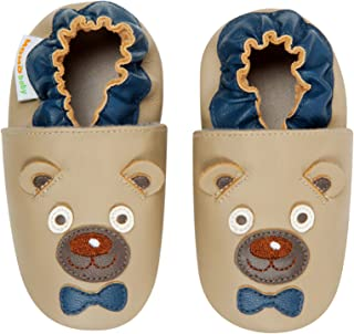 Boys Soft Sole Leather Shoes - Mr. Bear (0-6 Months)
