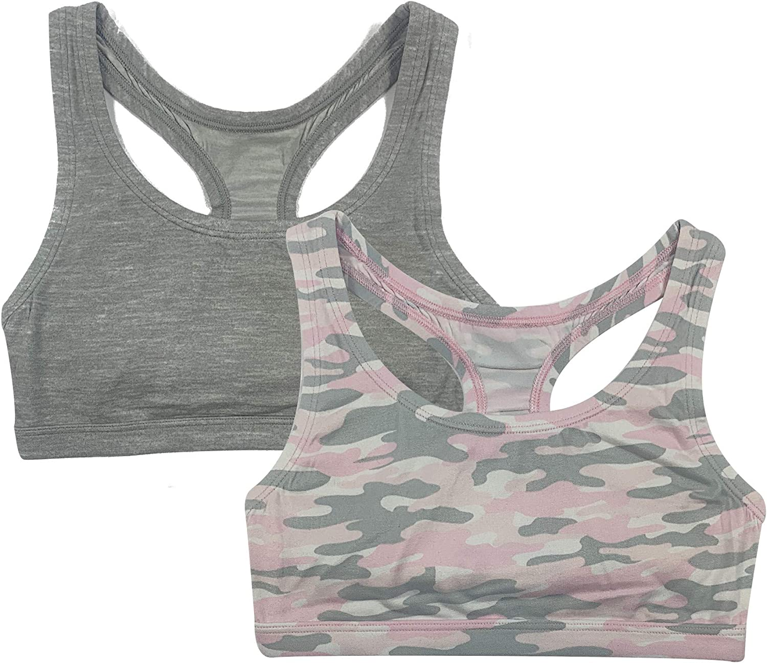 Popular Girl's Print and Solid Racerback Bra - 2 Pack Challenge the lowest price of Japan In stock ☆ Sports