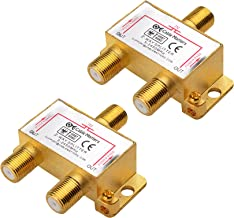 Cable Matters 2-Pack Bi-Directional 2.4 Ghz 2 Way Coaxial Cable Splitter for STB TV, Antenna and MoCA Network - All Port Power Passing - Gold Plated and Corrosion Resistant