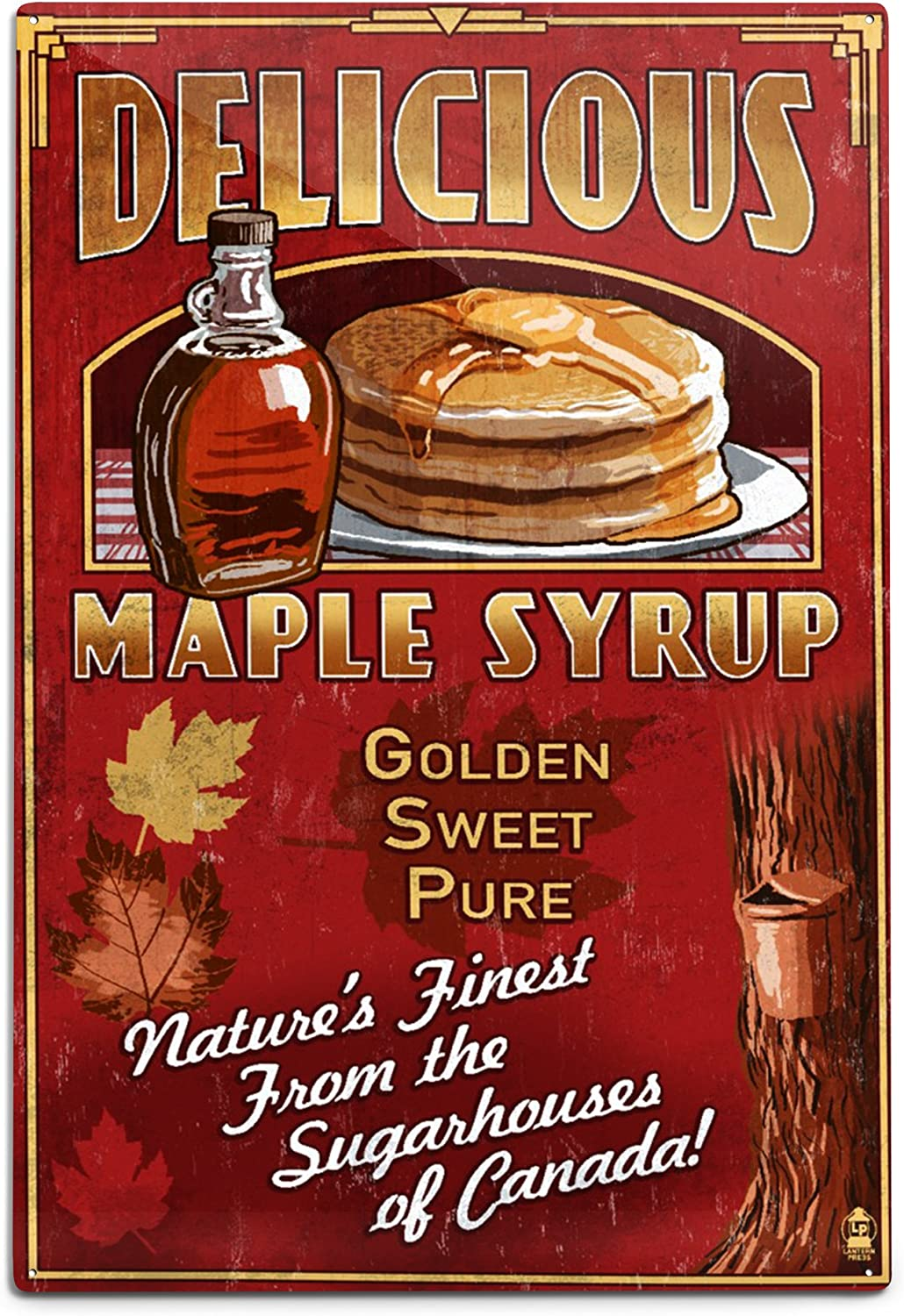 Lantern Press Canada Vintage Maple latest W Sign Free shipping / New 12x18 Syrup Aluminum