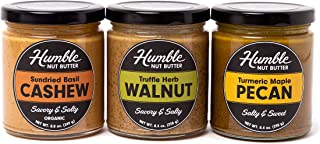 Sponsored Ad - Humble Nut Butter | 3 pack | Sundried Basil Cashew Butter, Truffle Herb Walnut, & Turmeric Maple Pecan Butt...