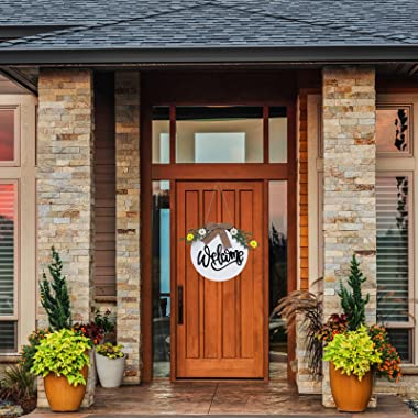 Welcome Sign for Front Door, Wreath for Farmhouse Front Porch Decor, Rustic Door Hangers Front Door for Thanksgiving Harvest