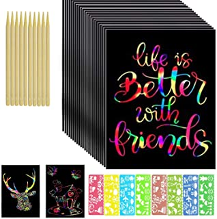 100 Large Sheets Rainbow Scratch Paper with 10 Wooden Styluses & 8 Molds Kit, Scratching Magic Pad Kids Diy Art Craft Set,...
