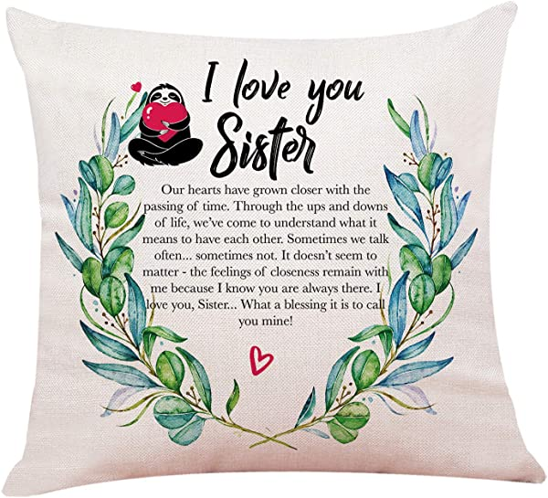 Yuzi N Sister Gift Pillow Case Cushion Cover For Sofa Couch Decor 18 X 18 Inch