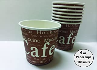 Royal packaging suppliers Disposable Paper Cups 4oz Cup,100 Count,brown with white letters Paper Hot Cups,Coffee Cup,Bathroom Cups,Single wall cup