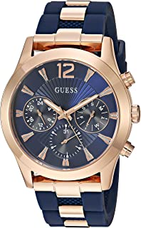 GUESS Women's Stainless Steel Analog Quartz Watch with Silicone Strap, Blue, 22 (Model: U1294L2)