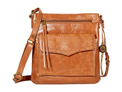 The Sak Ventura Leather Flap Organizer Crossbody (Tobacco Floral Embossed) Handbags