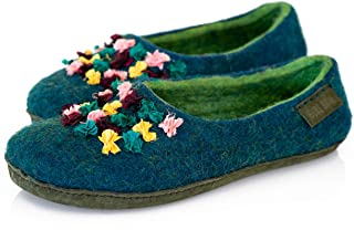 BureBure Women Felted Wool Slippers with Indian Silk Ribbons