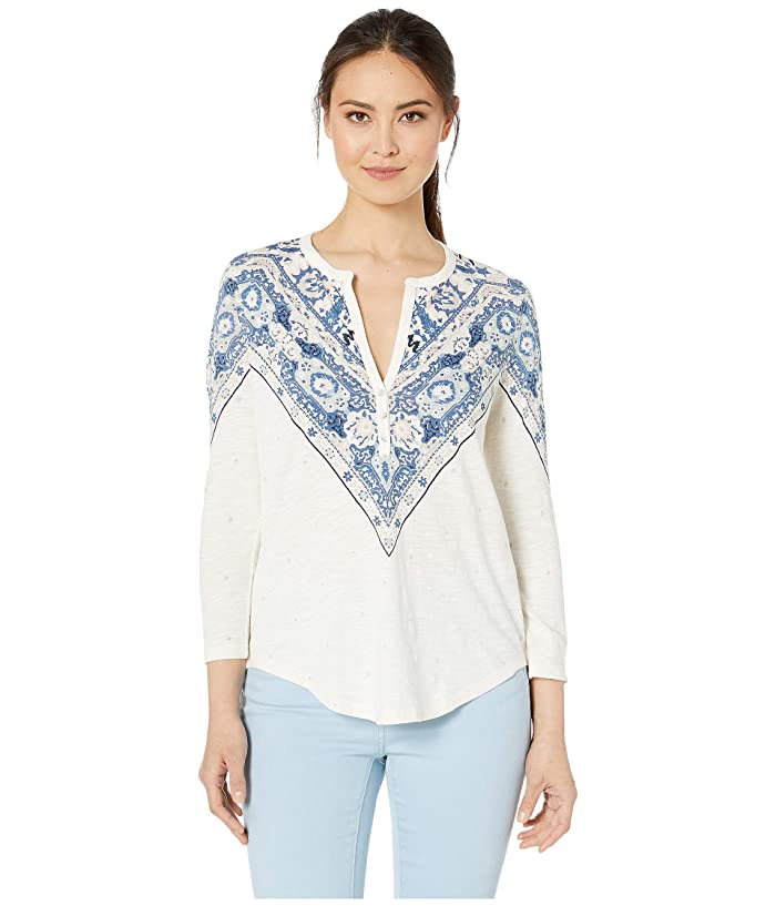 Lucky Brand  Bandana Print Henley Top (Natural Multi) Womens T Shirt