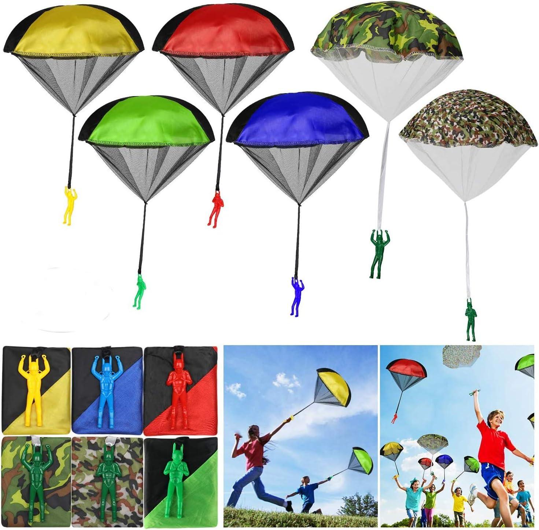 6 Paires KATELUO 6 Pcs Parachutiste Jouet,Parachute,Jeu de Plein air Parachute pour Enfants Les Jouets cr/éatifs en Parachute sont Libres de Voler