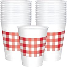 Red Gingham 16oz Plastic Cups