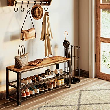 """Rolanstar Shoe Bench, 3-Tier Shoe Rack 39.4"""", Storage Entry Bench with Mesh Shelves Wood Seat, Rustic Foyer Bench for Hallway"""
