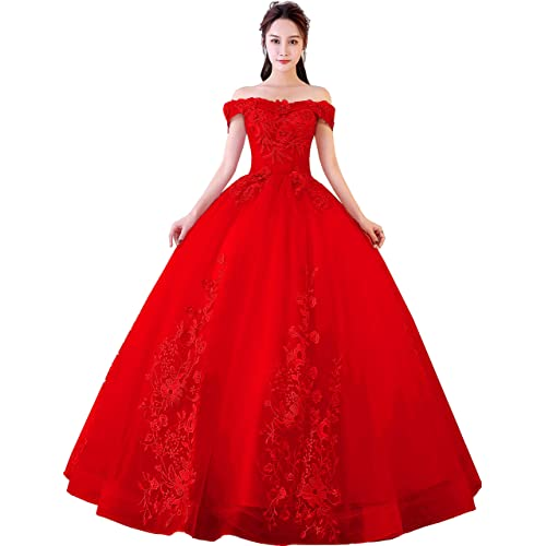 4f9e67ba76d0 Okaybrial Women s Sweet 16 Quinceanera Dresses Blush Pink Off Shoulder Lace  Long Prom Ball Gowns Plus