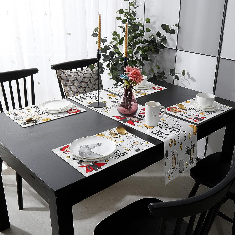 Womenfocus Outdoor Table Runner and Placemats Omaha Mall 6 Kitchen Heat-Pr Ultra-Cheap Deals