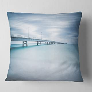 Designart Industrial Pier Side view' Seascape Throw Cushion Pillow Cover for Living Room, sofa 18 in. x 18 in