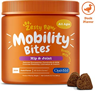 Zesty Paws Glucosamine for Dogs - Hip & Joint Supplement for Dog Arthritis Pain Relief - with Chondroitin & MSM - Advanced Natural Mobility Pet Soft Chews for Joints - All Breeds & Sizes - 90ct