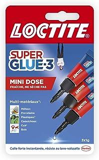 Loctite Super Glue-3 Mini dose, colle extra forte pour réparations qualité, colle forte & rapide tous matériaux, colle uni...