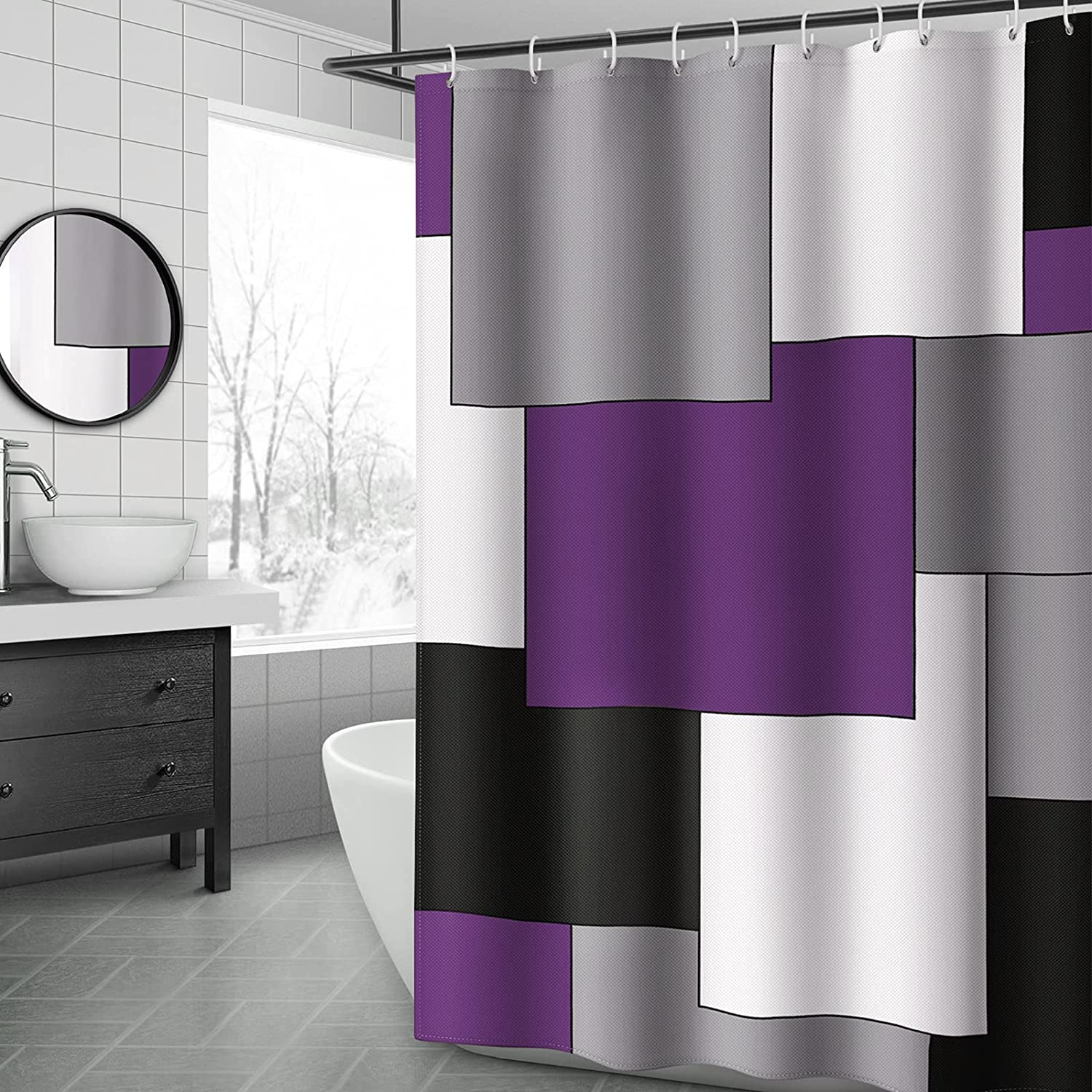 YellyHommy Mid Century Modern Shower Purple Max 41% OFF Curtain Bat online shop and Gray