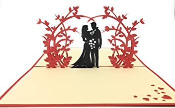 Perfect wedding & anniversary gift - Handmade 3D pop-up card with romantic couple under an arch of beautiful flowers. Ideal complement to flowers for delivery or whenever you want to say I LOVE YOU