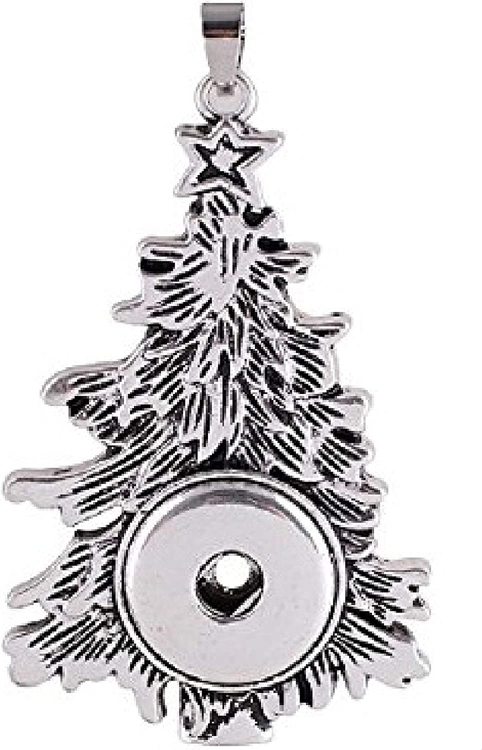 My Prime Gifts Christmas Tree Interchangeable Snap Jewelry Pendant Holds 18-20mm Snap