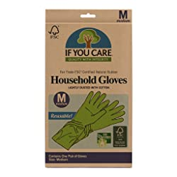 IF YOU CARE Medium Cotton Flock Lined Household Gloves, 1 Count