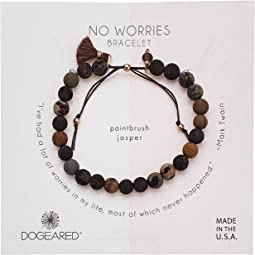 No Worries Bracelet, Jasper Bead Stone Bracelet with Nylon Pull Cord
