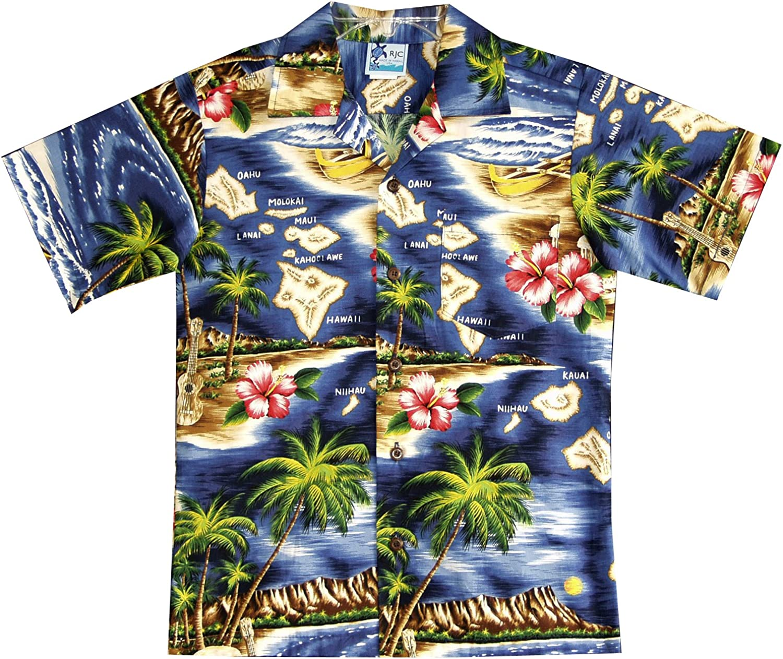 RJC Boy's Hibiscus New Shipping Free Shipping Hawaiian shopping Island Navy in Blue Shirt