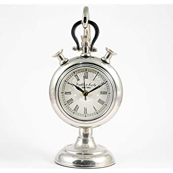Hind Handicrafts Aluminium 9 x 9 Mantle Clock Retro Non-Ticking Table Desk Mantle Clock Battery Operated with Sweep Quartz Movement Roman Numerals Decorative for Bedroom Living Room Kids Room
