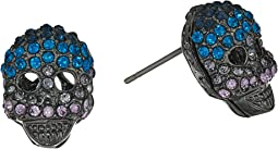 Blue and Hematite Skull Stud Earrings