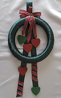 Ghirlanda Fuori Porta Addobbi di Natale con fiocco e cuori in legno
